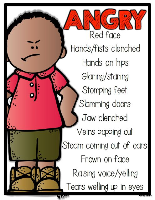cartoon illustrating angry boy with red face